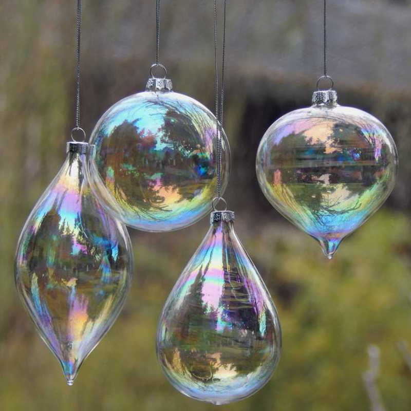4pcs/lot Christmas Glass Ball Clear Baubles Ornaments