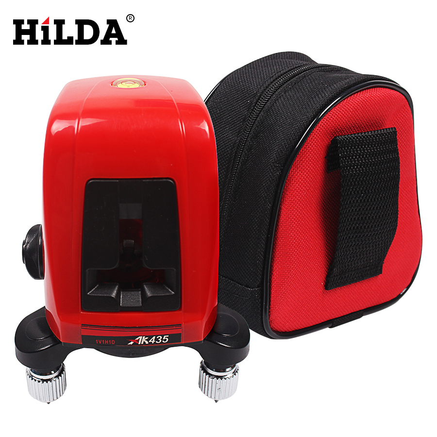 HILDA 360 degree self-leveling Cross Laser Level 1V1H Red 2 line 1 point Rotary Horizontal Vertical Red Laser Levels Cross laser a8827d 360 degree self leveling 3 lines 3 points rotary horizontal vertical red laser levels cross laser line laser highlights
