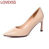 LOVEXSS Fashion Lady Shoes Office Girl Horseshoe Heel Shoes Leather Retro Style Working Women Latest Comfort