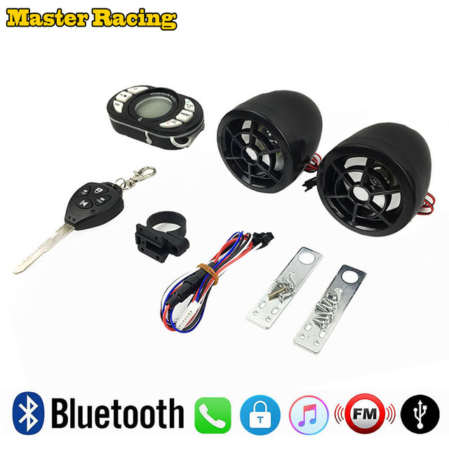 Motorcycle Bluetooth MP3 Player FM Radio Audio System Moto Scooter  Wireless Remote Alarm With TF USB Mobile Charge Phone Call