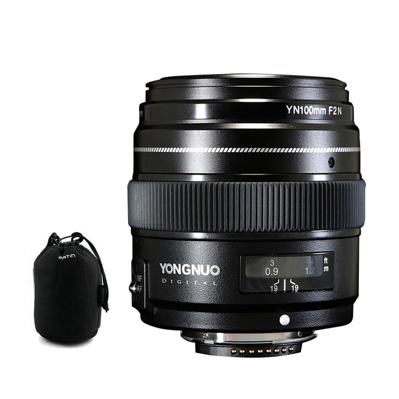 YONGNUO YN100mm 100mm F2N Focale Fixe pour Nikon Camera Lens, soutien AF/MF Grande Ouverture Standard Moyen Téléobjectif Premier Objectif