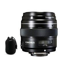 Yongnuo yn100mm 100mm f2n 니콘 카메라 렌즈 용 고정 초점, af/mf 대형 조리개 표준 중형 망원 프라임 렌즈 지원
