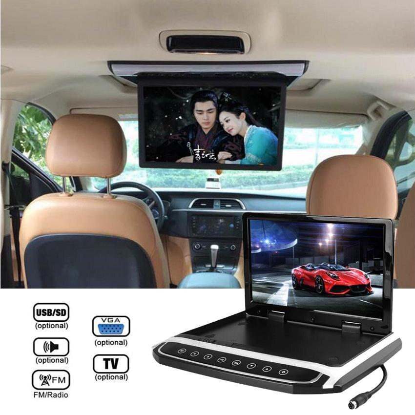 Vehemo Full HD 1024*600 Black 10.2 '' DC 12V Car Flip Down Monitor Roof Media MP5 Player HDMI TF Universal for Car Bus 3GP