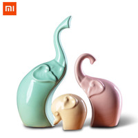 Xiaomi Youpin 3pcs Family Elephant Statue Home Decor Crafts Room Decorations Elephant Loves Ornament Porcelain Animal Figurines