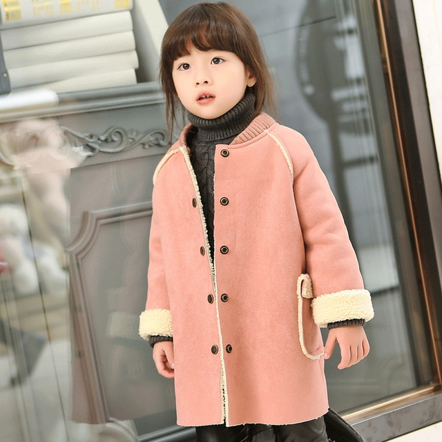 2017 Autumn Winter Coats Baby Jacket Kids Girl Sweet Pink Winter Coat with Velvet Outerwear Jackets Children Costume Pink/ Beige