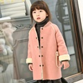 2017 Outono Inverno Casacos de Bebê Jaqueta Crianças Menina Doce Rosa Casaco de Inverno com Veludo Outerwear Jaquetas Crianças Traje Rosa/bege