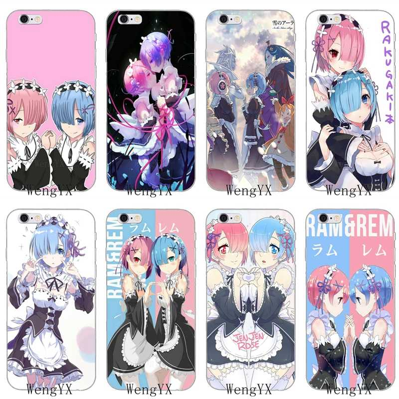 sexy anime girl ram rem re zero Slim silicone Soft phone case For iPhone 4 4s 5 5s 5c SE 6 6s plus 7 7plus 8 8plus X