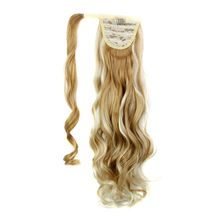 Luxury for Braiding Synthetic Hair 22inch 120g Long Wavy High Temperature Fiber Drawstring Wrap Around Ponytail Hairpieces