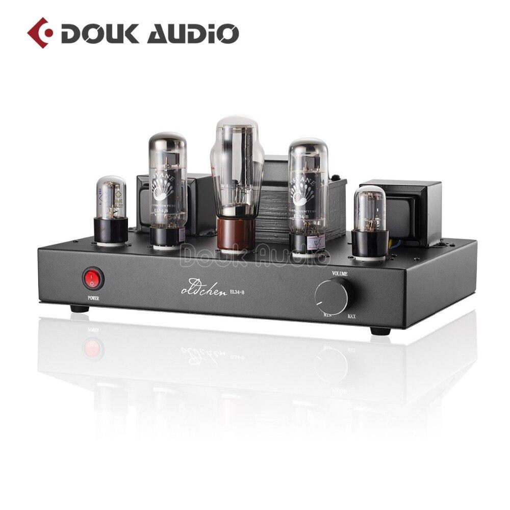 2018 Ultime Douk audio Aggiornato 6N9P Push EL34 Tubo Della Valvola Amplificatore Puro Fatto A Mano Ponteggi Stereo Hi-Fi di Classe A AMPLIFICATORE di Potenza