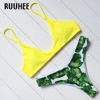 RUUHEE 2017 Hot Sexy Swimwear Women Bikini Set Thong Bottom Bandage Swimming Suit Push Up Brazilian