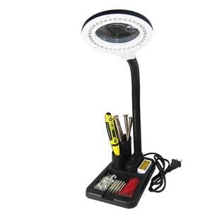 Image 2 - Multi funktion Vergrößerungs Handwerk Glas Schreibtisch LED Lampe 5X & 10X Lupe + 40 LED Licht + Desktop Lupe reparatur Werkzeuge werkzeug box stehen