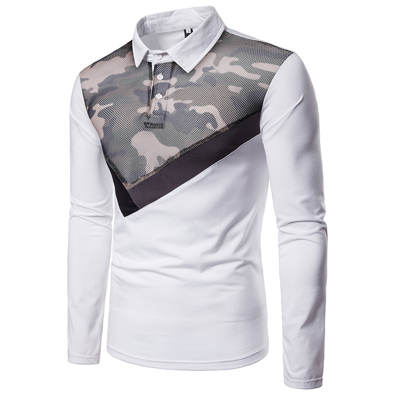 Mens autumn winter mesh gauze camouflage stitching fashion design lapel long sleeve polo shirt male clothing 2colour