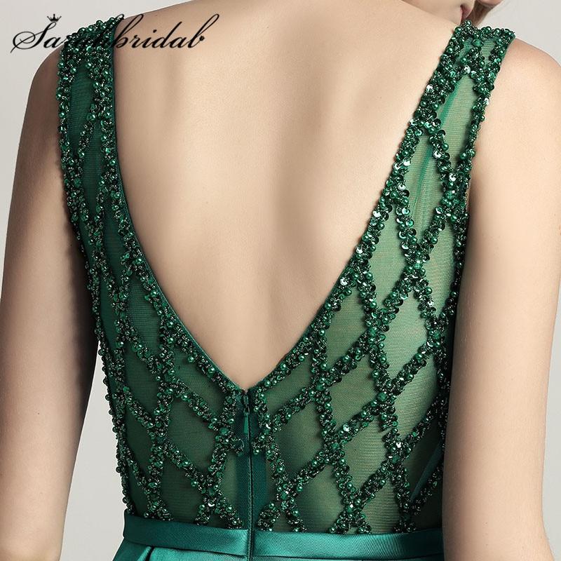 Superbe perlée femme soirée cérémonie robes Dubai 2019 longue robe O cou Satin en Stock longueur de plancher robe de bal CC443 - 5