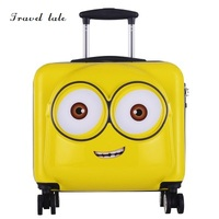 Travel tale yellow Minions cartoon children 19 inch size PC Rolling Luggage Spinner brand Travel Suitcase Fashion