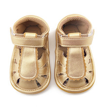 Delebao 2017 New Design Baby Shoes Gold Striped Purfle Hook & Loop Newborn Girl Sandals (0-18 Months) Wholesale