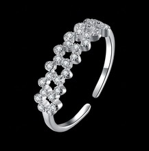 Rings Plant Party Anillos Fashion Jewelry 2017 Sale Hot Wholesale Crystal From Swarovski 925 Sterling Plum Blossom Couple Ring(China)