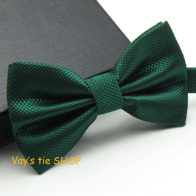 1pc Dark Green Grid Bow Ties Emerald Color Cravat  For Men Grooms Bowtie Polyester Butterfly Brand Gravata Wedding Party