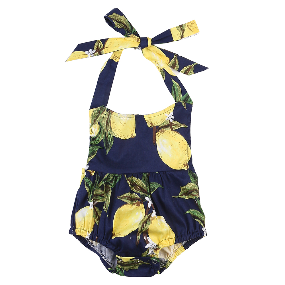 Newborn Infant Baby Girl Romper Summer Sleeveless Backless Halter Jumpsuit Sunsuit Lemon Outfits Clothes 0-18M newborn baby backless floral jumpsuit infant girls romper sleeveless outfit