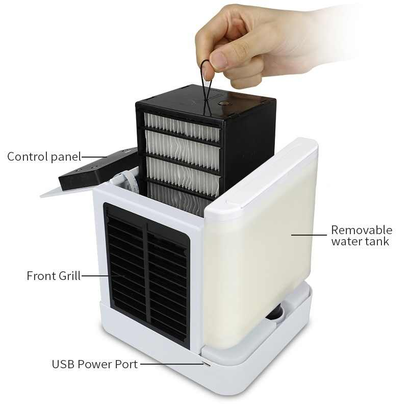 LCD USB مكيف هواء متنقل صغير تنقية المرطب 7 ألوان ضوء سطح المكتب تبريد الهواء مروحة تبريد الهواء مروحة للمنزل مكتب