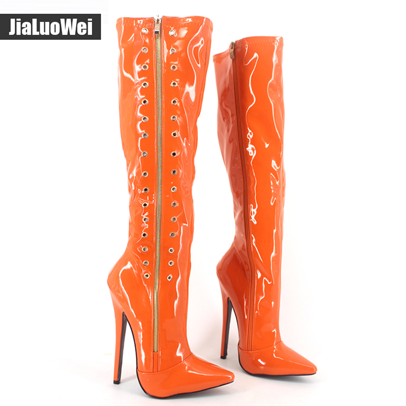 Jialuowei Spring Autumn Women's Pointed Toe Shoes Knee-High thin high heels Boots Patent Leather martin Zip motorcycle boots jialuowei women sexy fashion shoes lace up knee high thin high heel platform thigh high boots pointed stiletto zip leather boots