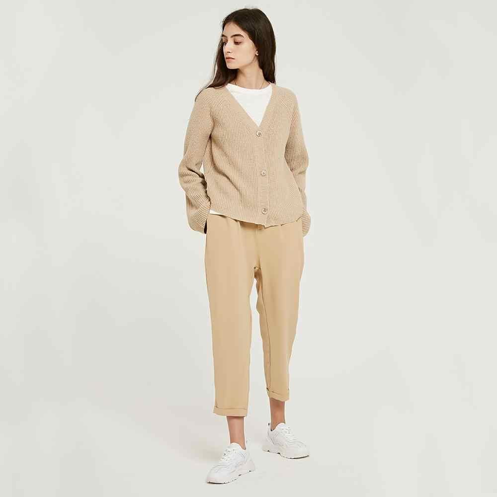 весна осень тренд 2019 wixra модная одежда женская  стильная повседневные гардероб универсальный брюки джинсы штаны высокая талия посадка длинные штанины укорочённые новые карманы бежевые цвет резинке