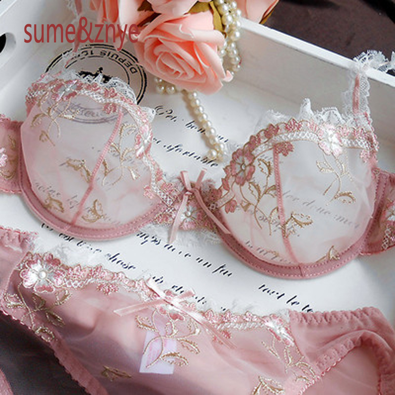 Best buy ) }}French brand female underwear bra set lingerie sexy bra embroidery ultra-thin Pink