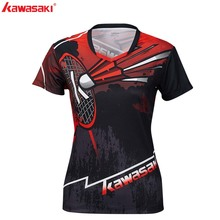 Kawasaki Clothing Badminton Shirt  Women V-Neck Short Sleeve Polyester Breathable Sportswear For Gym ST-S2105