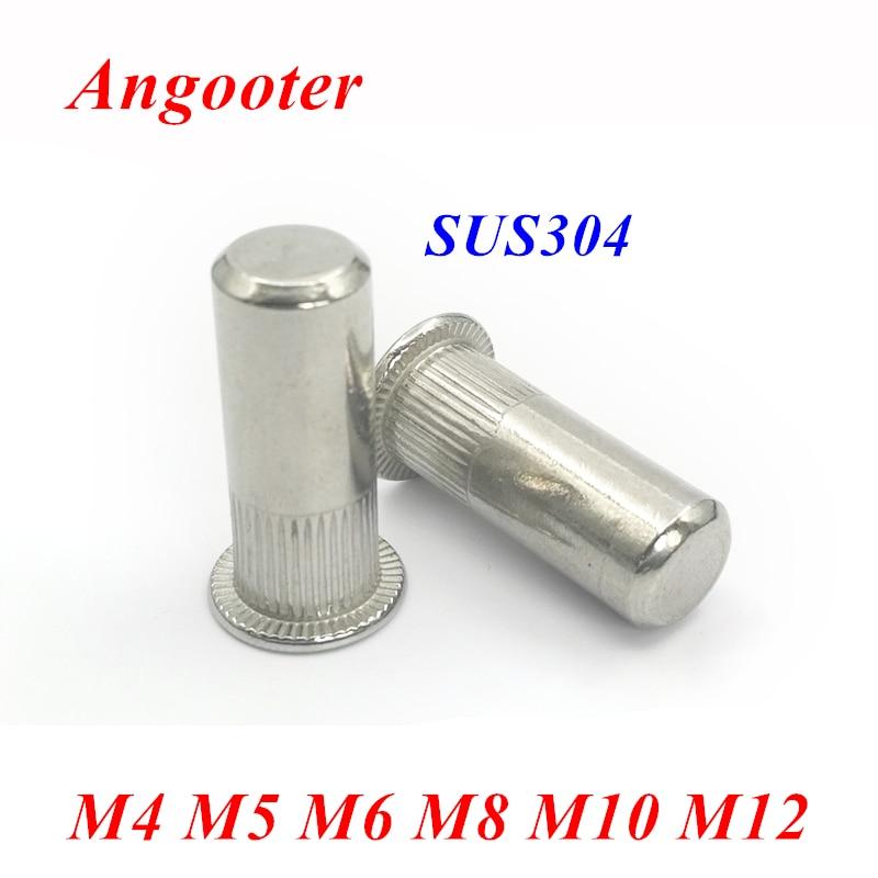 50 piezas de cabeza plana de acero inoxidable Tuercas remachadoras M4 M5 M6 M8 M10 rayas verticales RIV Tuercas de inserci/ón con hoja de datos 304