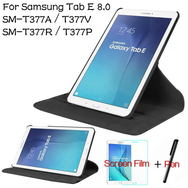 360 Degree Rotating PU Leather Cover for Samsung Galaxy Tab E 8.0 T377A T377V T377R T377P Tablet Case+Free Screen Protector+Pen ultra thin smart flip pu leather cover for lenovo tab 2 a10 30 70f x30f x30m 10 1 tablet case screen protector stylus pen
