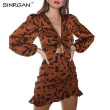 SINRGAN Ruffles Leopard Spring Dresses Elasticated Wristband Sexy Body