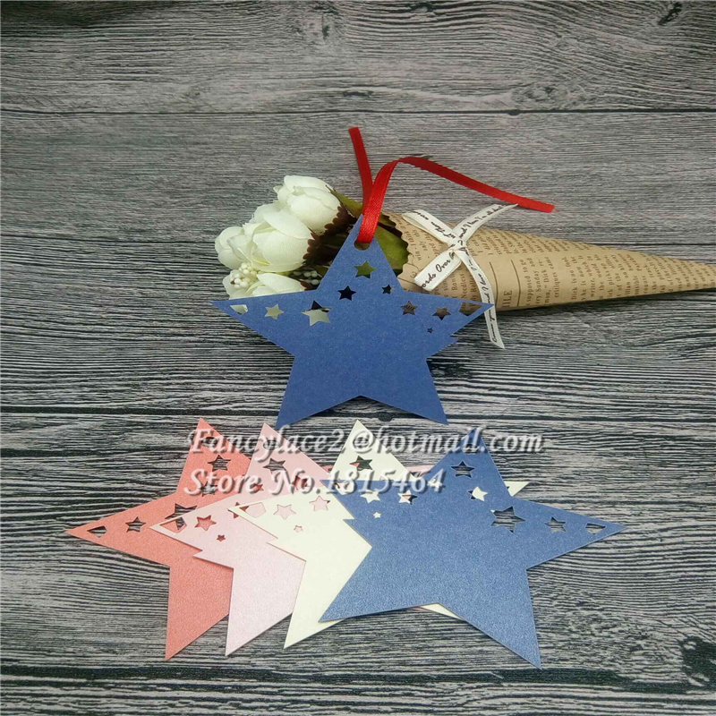 60pcs Laser Cut Star Place Card Paper Card Hang Tag Gift Card Ornaments Hanging Thank you Card Party Event Decoration Supplies