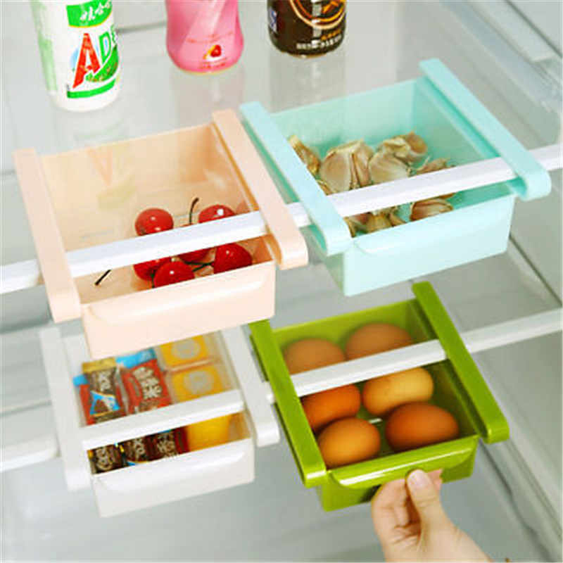 New Kitchen Fridge Table Freezer Space Saver Organizer Storage Rack Shelf Holder Useful Storage Drawer Strong 3 Colors