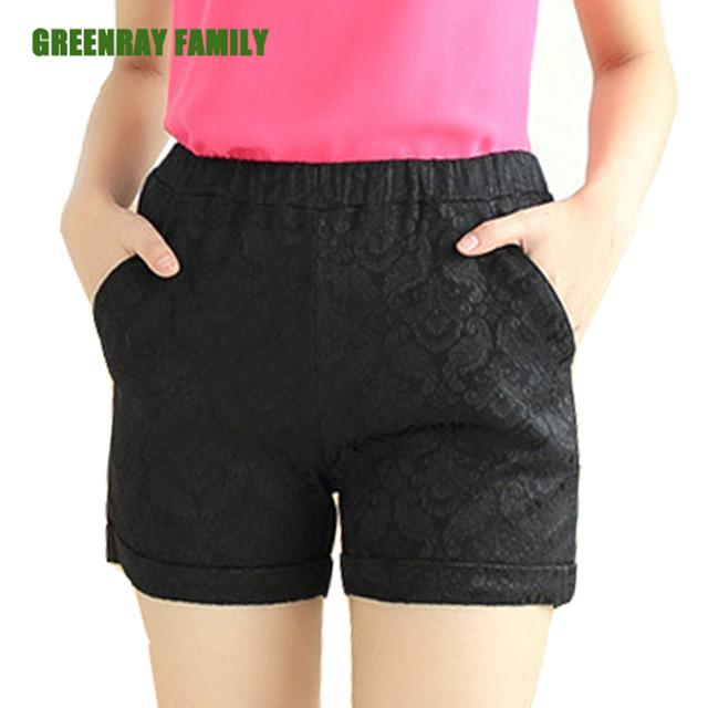 Verão Plus Size 4XL Mulheres Casuais Calças Curtas Sim Fit Turn-up Hem Edage Perna Elástico Na Cintura Do Vintage Crochê Jacquard tecer Calções