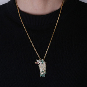 Image 5 - JINAO, кубический циркон, цепочка со льдом, Золотая мода, UKA ожерелье с подвеской маской, ювелирные изделия в стиле хип хоп, массивные ожерелья для мужчин и женщин, подарки