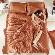 ParkShin Satén de Seda del Lecho Duvet Cover Set de ropa de Cama de Color Sólido Café Suave Tencel Hoja Plana 3 Unids o 4 Unids