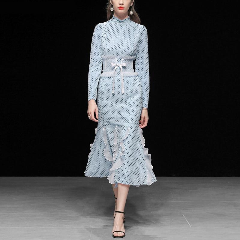 Robe Piste New Roosarosee Sirène De Robes Élégant Rouge Mousseline Taille 2019 Manches Longues Bohème Nouvelle Slim Soie Printemps Été Multi Femmes En 57fqnptFwx