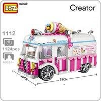 LOZ 1112 Car Model Pink Girl Dream Mister Softee Ice Cream Car 3D Model DIY Mini Blocks Bricks Diamond Nano Building Toy Gift