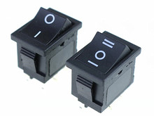 1pcs 2 position rocker switch 6 pins on off /  on offon snap switch KCD1 black plastic shell 2 position on off dpst 4 pin terminal snap in rocker switch