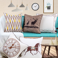 High grade cotton and linen embroidery animal elk pillow pillow set model room club showroom sofa cushion cover waist sleeve