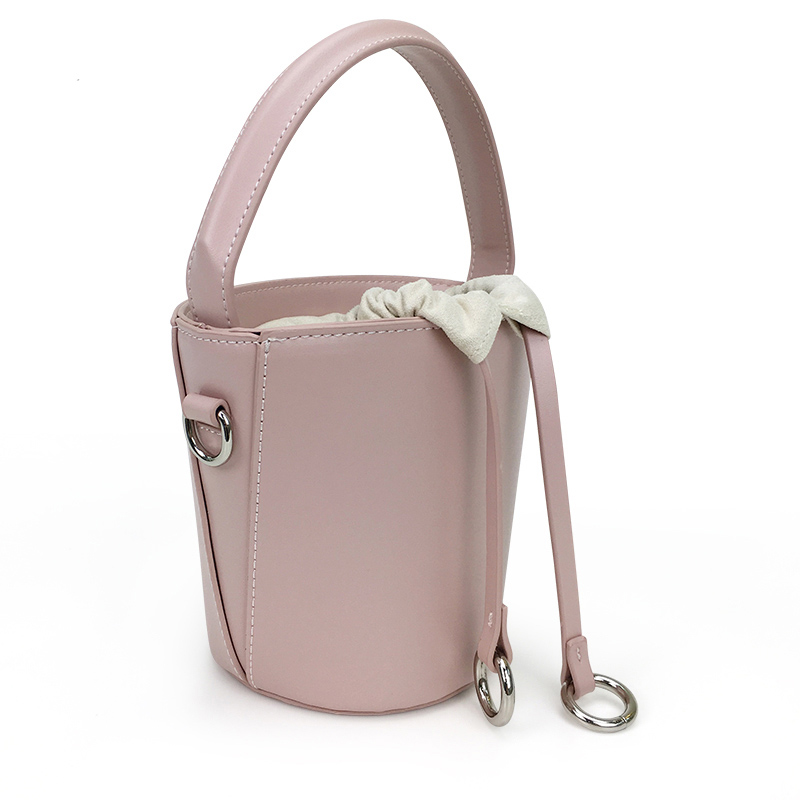 Bucket Bag Made Of Pu Patchwork Canvas ,Drawstring Closed Round Barreled Shape Small Bag Candy Color On Sale