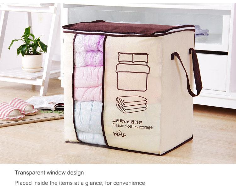 2018 new Non-woven Portable Clothes Storage Bag Organizer 45.5*51*29cm Folding Closet Organizer For Pillow Quilt Blanket Bedding 19