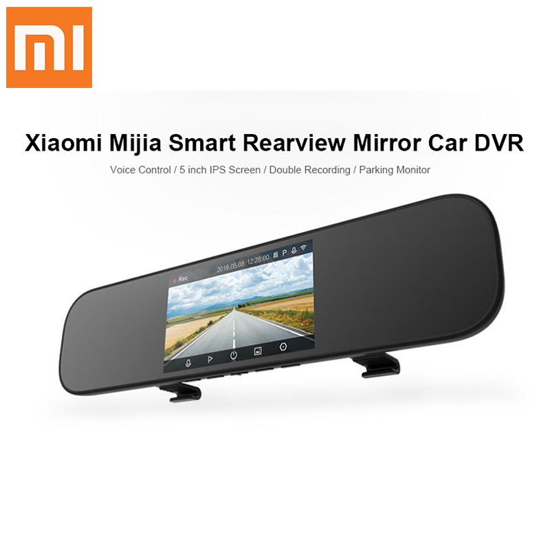 лучшая цена Xiaomi 5 inch Touch screen Smart Rearview Mirror Car DVR Sony IMX323 with Voice Control APP 160 Degree Car Dash Cam Night Vision