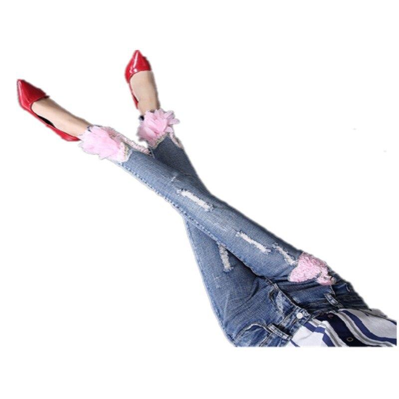 Noveno Marca Mujer Denim Vaqueros Pic 2019 Pantalones Cisne Moda Jean Bordado De Blanco 3d As Skinny v4wAd