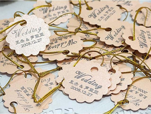 100pcs/lot Mini Design Hangtag Printing Info.On The Tag Wedding Invitation Card Candy Box Collocation