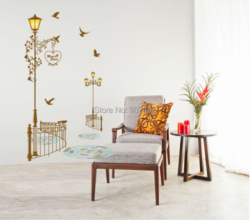 Free shipping brown vintage main street wall sticker for The family room main street