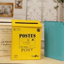 Outdoor Vintage Metal Iron Mailbox Waterproof Post Box Lockable Box Home Balcony Garden Decorative Crafts mail box