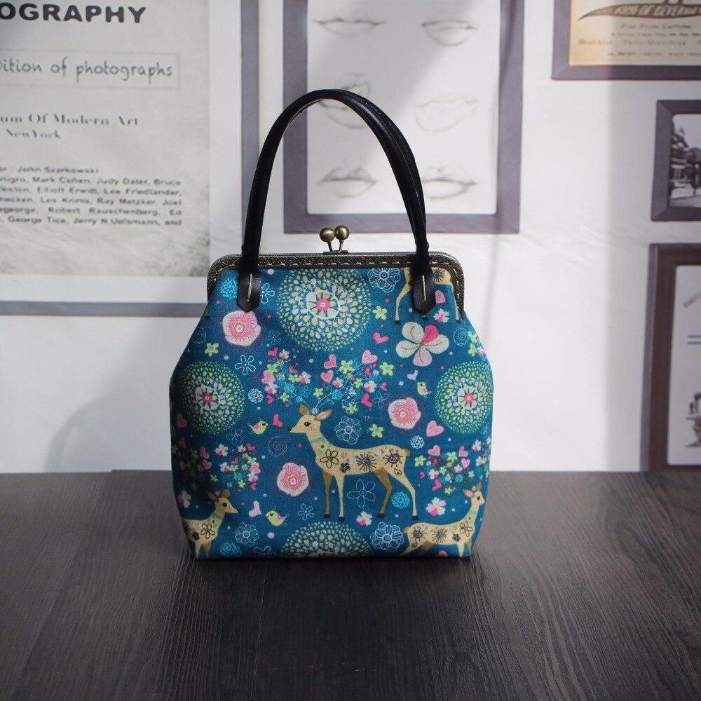 23*25*9 cm Retro Baumwolle Leinwand Mund Gold Rahmen Handtaschen ...