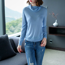 Solid elastic knit turtleneck pullovers basic sweater 2018 new long sleeve women autumn loose shirts