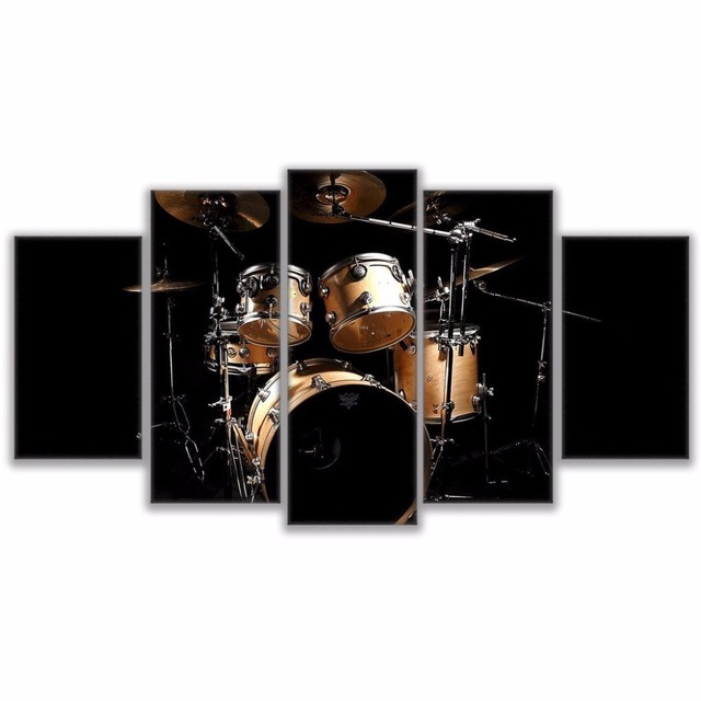 Artryst Modular Wall Art Pictures Modern Home Decor Livingroom 5 Pieces Rock Music Jazz Drum Kit
