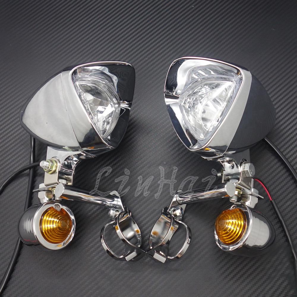 Chrome Motorcycle Driving Passing LED Turn Signal Spotlight Fog Lights